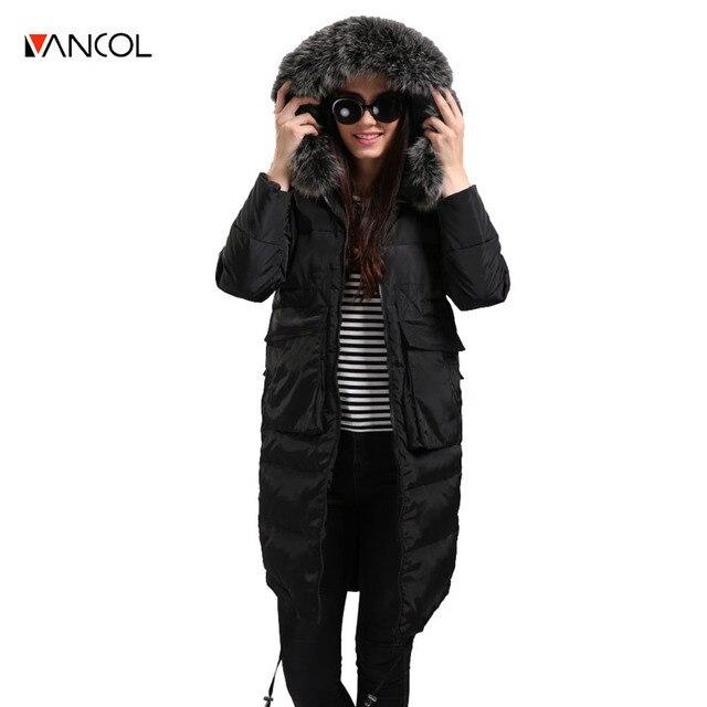 Vancol 2016 abrigo de invierno con capucha de piel de espesor de la vendimia azul damas de algodón chaquetas negro largo mujer chaqueta parka de invierno