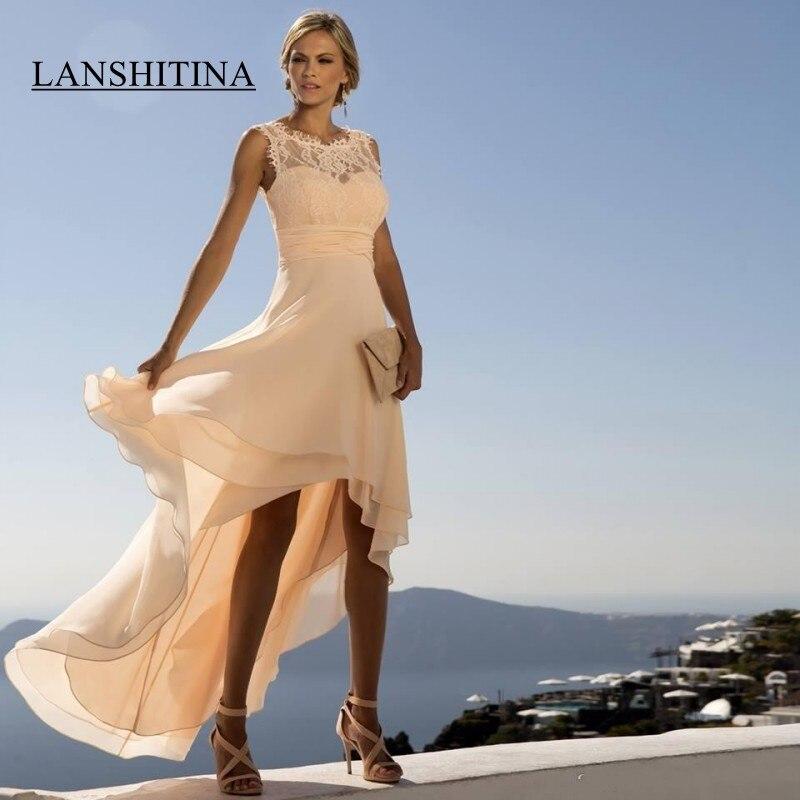 Mousseline de soie et dentelle robes de bal haut bas Empire retour robes formelles filles robe de soirée grande taille 2019 demoiselle d'honneur porter