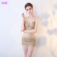 Unique Gold Mini Cocktail Dresses 2017 New Sexy Short Prom Dress Sweetheart Tulle Beading Crystal Backless
