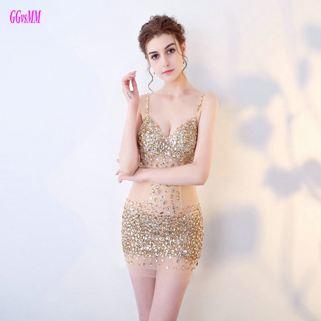 e020e8308da Unique Gold Mini Cocktail Dresses 2018 New Sexy Short Prom Dress Sweetheart  Tulle Beading Crystal backless Cocktail Party Gowns