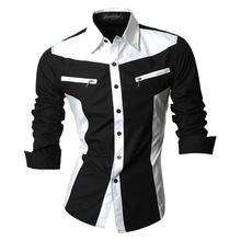 Sportrendy Men's Shirt Dress Casual Long Sleeve Slim Fit Fashion Dragon Stylish JZS053 Black цена 2017