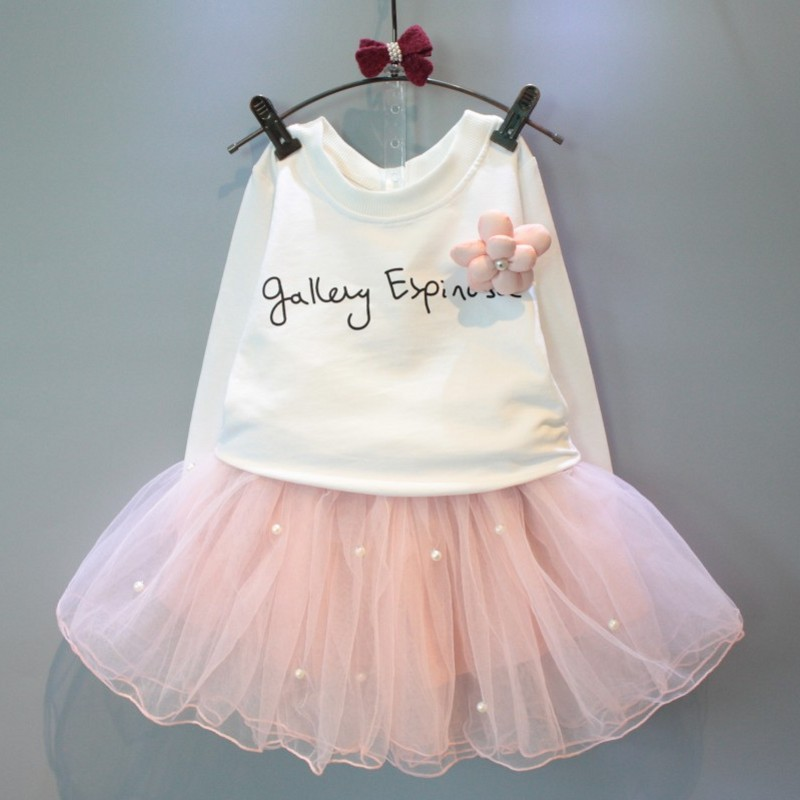 lovely girls white tee shirt and pink skirt with rhinestone clothes set for kids girl autumn children clothing set suit retail tango