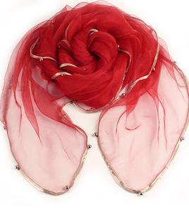 Женский летний Одноцветный полосатый шарф из органзы, украшенный бисером, женский весенний золотой ободок, длинный бисер, тонкая мягкая шаль - Цвет: 1
