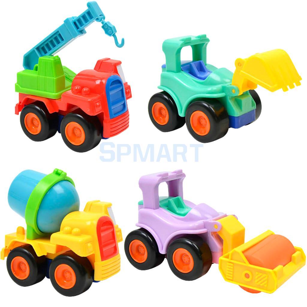 4Pcs Mini Inertial Engineering Car Van Toys Cartoon Construction Vehicles Mixer Truck Car Models Children Kids Educational Toys