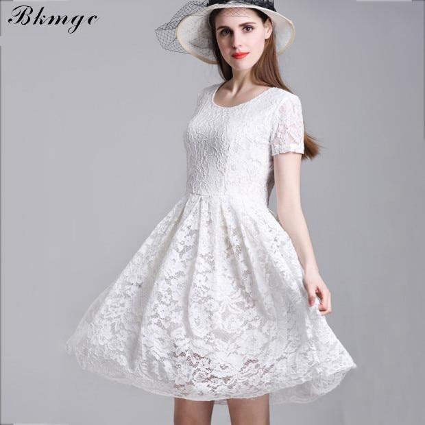 Bkmgc Wanita Floral Putih Mini Lace Dresses Lengan Pendek Gadis