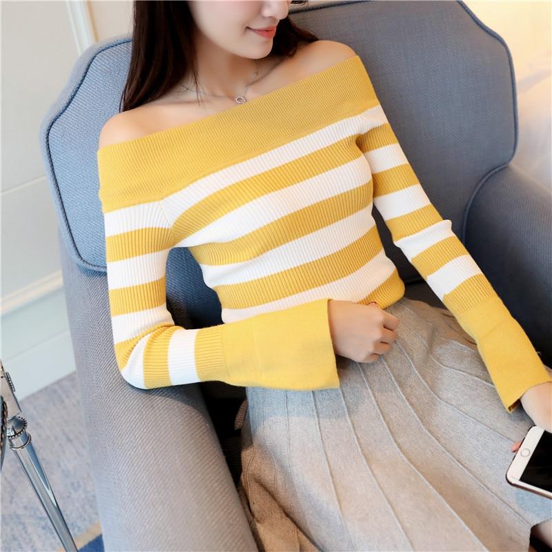 El 30 nuevo resorte de las mujeres camisa a rayas suéter de cuello F1643