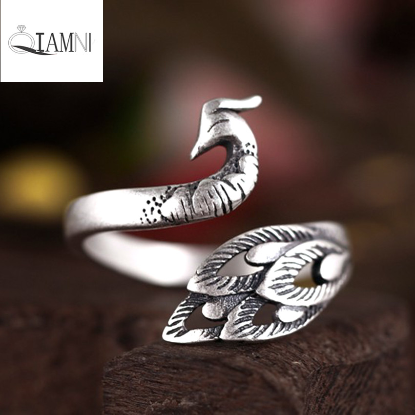 QIAMNI 925 Sterling Silver Vintage Beautiful Peacock Animal Open Ring Christmas Gift for Women Girl Accessories Birthday Jewelry