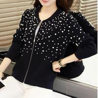 Pearl beads cardigan 2018 autumn winter new air conditioning sweater Korean version women's wear foreign trade girl
