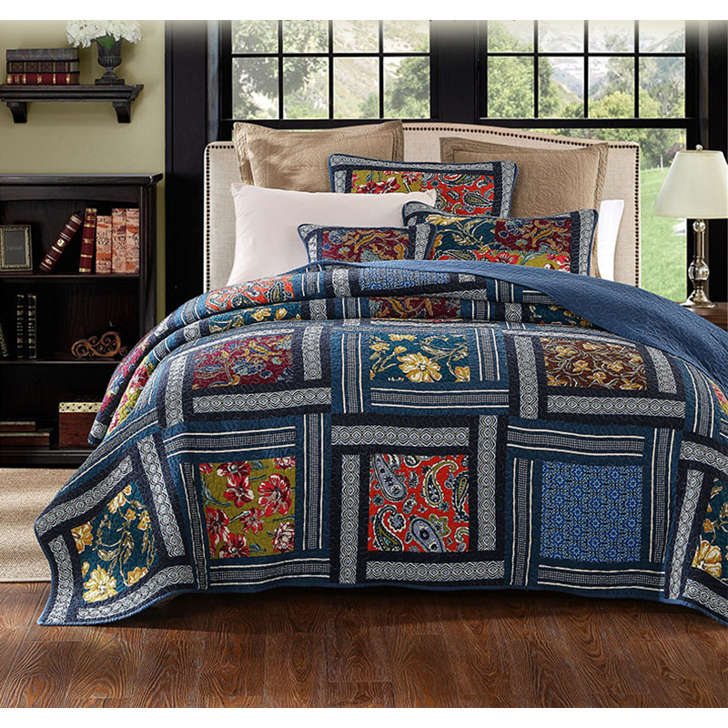 Quilt Bedspread Blanket Bedding Coverlet Full//Queen Bedroom Soft Vintage