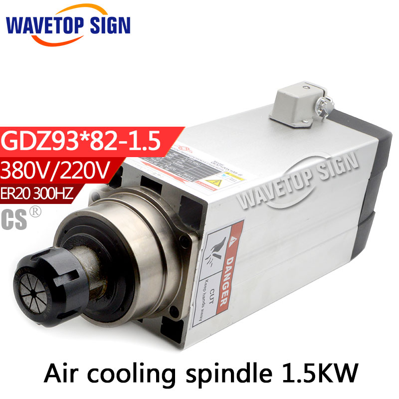 air cooling spindle GDZ93-82-1.5 1.5kw 380V 220v 6.8A  300HZ chuck nut ER20 Grease RPM 18000 cnc dc spindle motor 500w 24v 0 629nm air cooling er11 brushless for diy pcb drilling new 1 year warranty free technical support