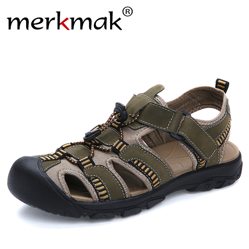 Merkmak Large Size 38-47 Summer Men Sandals Genuine Leather Breathable Shoes Men Outdoor Walking Casual Beach Sandal Shoes