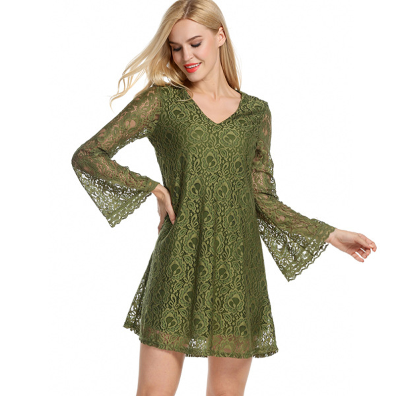 The New Europe and The United States Relaxed Lace Dress Sexy Summer V-neck Crochet Dress