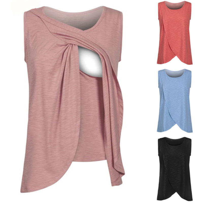 Maternity Clothes Cotton Nursing Top T-shirt Clothing For Pregnant Women Ladies Summer Breast Feeding Vest Tops Plus Size S-XXL ...