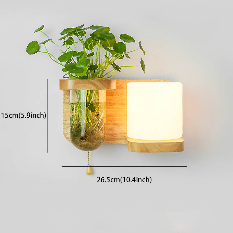 Nordic Hout Wandlamp met Hydrocultuur Succulenten Bloem Glas Pot voor Woonkamer Naast Light Blaker Wandlamp Muur Art - 3