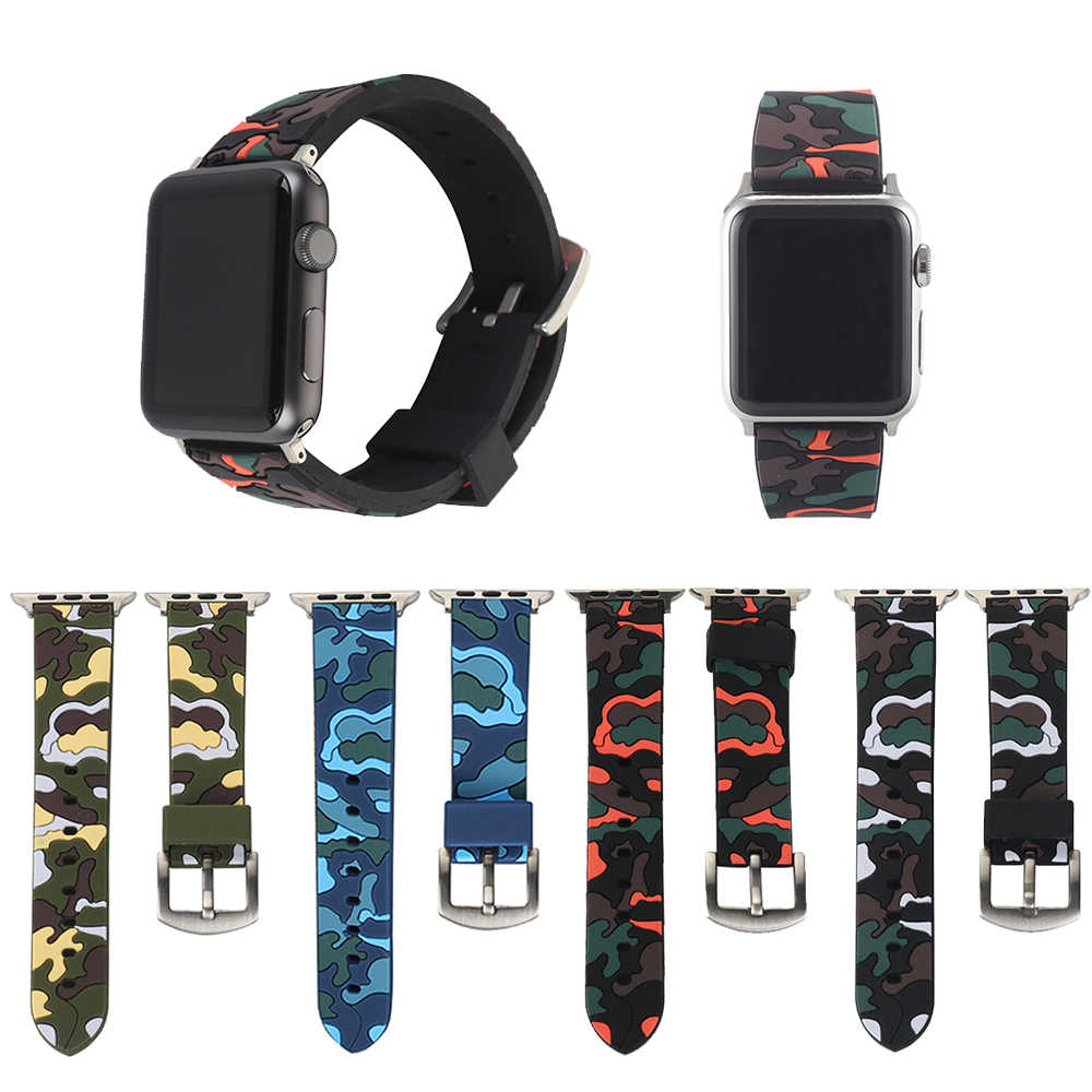 Military Silicone Band For Apple watch 42 38mm Series3 2 1 Camouflage band For apple watch Camo Iwatch Strap With Metal Buckle