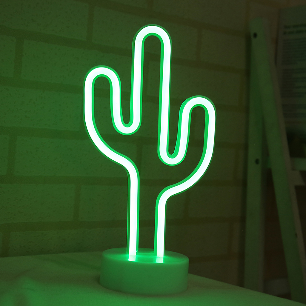 LED Neon Night Light Pineapple Cactus Shape With Base Battery Powered Table Lamp For Kids Room Wall Hanging Decor 35