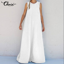 Plus Size Women Maxi Long Dress Summer 2019 Celmia Casual Solid Sundress Loose Round Neck Sleeveless Sundress Plus Size Vestidos chic plus size round neck asymmetric slit sleeveless dress for women