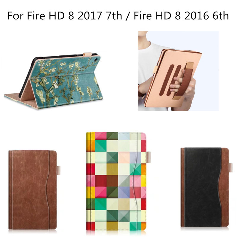 Folio Case for Amazon All new Fire HD 8 Tablet (2017 2016  7th / 6th Generation) -Cover Slim Folding Stand with Auto Wake Sleep for amazon 2017 new kindle fire hd 8 armor shockproof hybrid heavy duty protective stand cover case for kindle fire hd8 2017