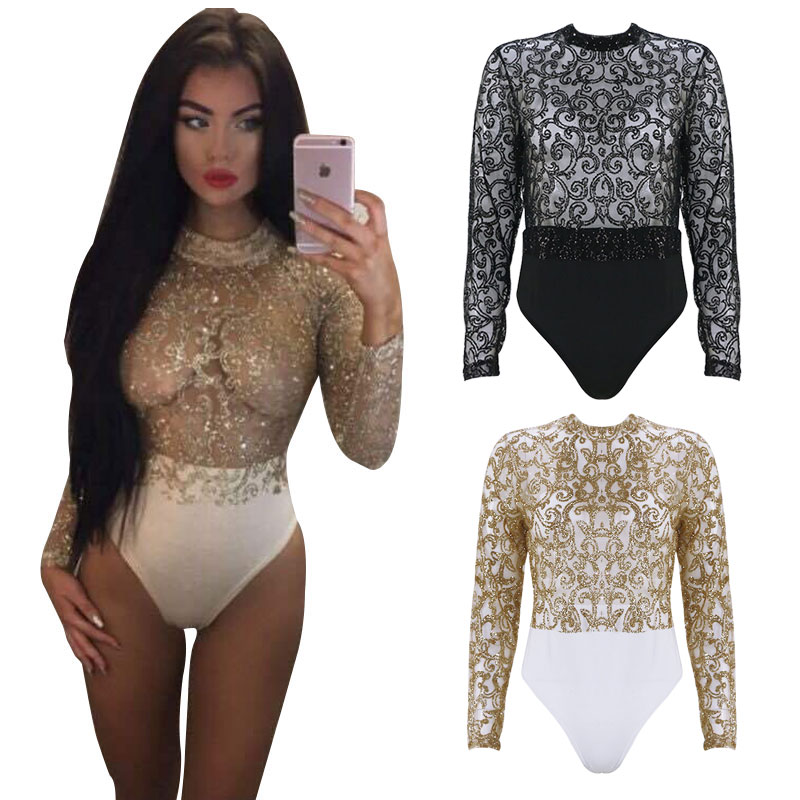 Elegant 2018 Gold Black Long Sleeve Sexy Bodysuit Women Jumpsuit Glitter  Romper One piece BodyconWomen Overalls Skinny Bodysuits-in Rompers from  Women s ... 5b8e2a22c0
