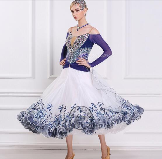 f06d99a01fa37c Ballroom jurk ballroom standaard stijldansen jurken vrouwen ballroom dans  kleding voor vrouwen bloem print in Ballroom jurk ballroom standaard  stijldansen ...