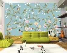 цены beibehang Chinese hand painted flower bird crane and peony background wall murals papel de parede papier peint wallpaper
