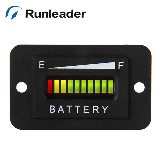 10 BAR Digital LED Battery Charge discharge Indicator RED YELLOW GREEN display 12V 24V for car golf cart