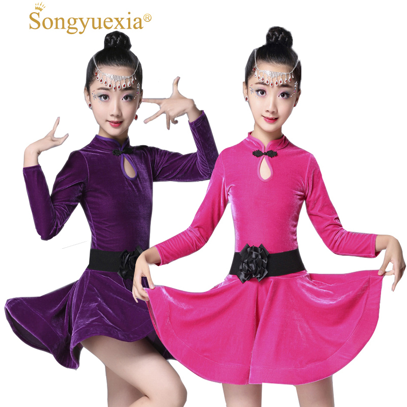 Children Latin Dance dress gril long sleeve New Pattern Children Dance Skirt Autumn And Winter Latin dancewear 3colors