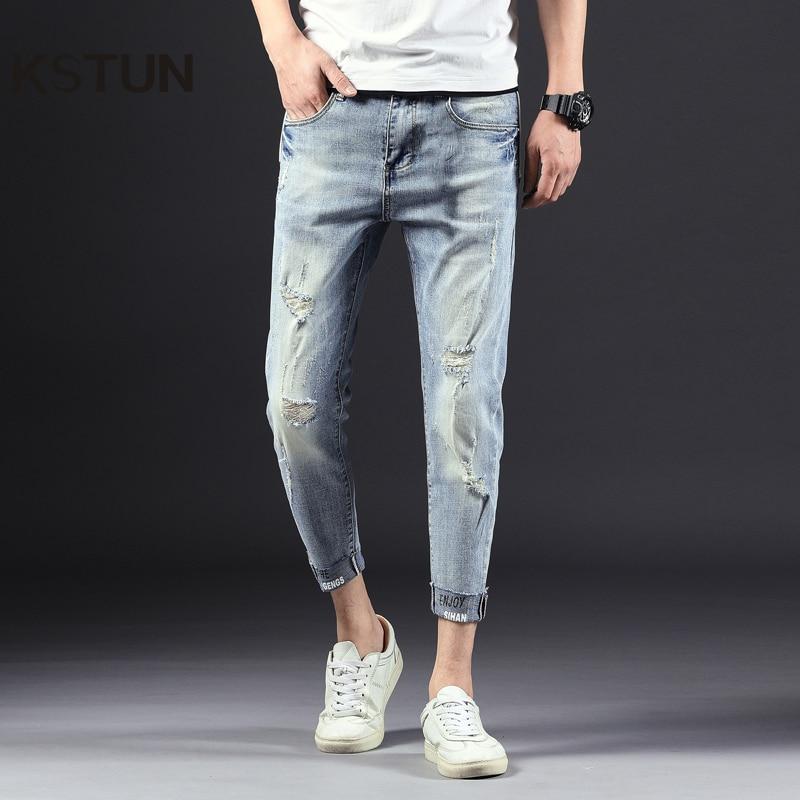 Джинсы для женщин для мужчин обтягивающие тянущиеся светло белые рваные джинсовые штаны наконечником мото байкерские джинсы хип хоп Уличн