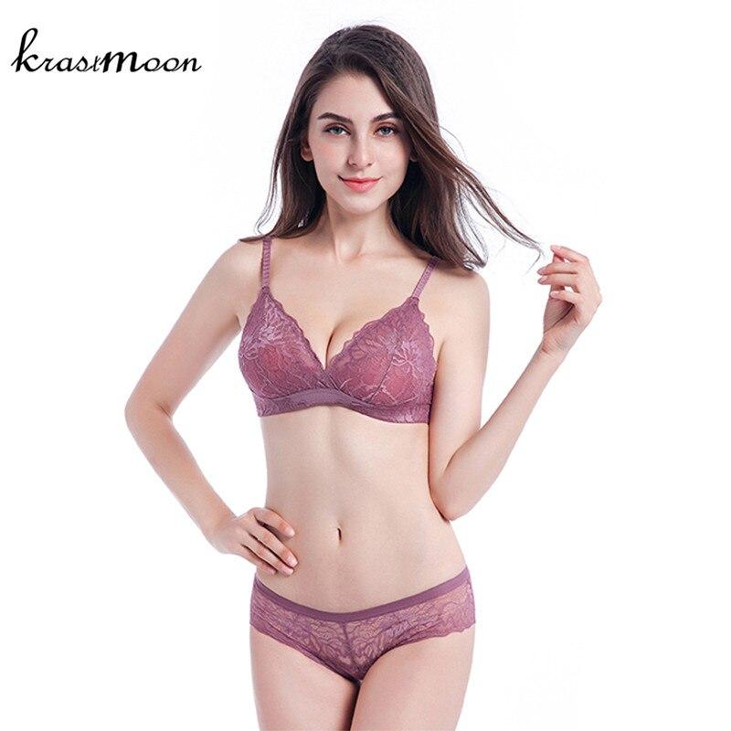 Krastmoon 2018 New Ultra thin Transparent Bra Women Underwear Comfortable Breathable Bra Sets Full Lace Lingerie Set BS134