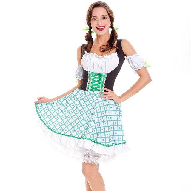 c41e3195ee Bavarian Clothing German Dirndl Dress Oktoberfest Party Beer Girl Halloween  Costume Adult Cosplay Costumes Cute Sexy