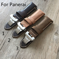 New PAM 24mm Vintage Brown Italy Calf Leather Watchband Strap With Butterfly Buckle For PAM/Panerai With LOGO