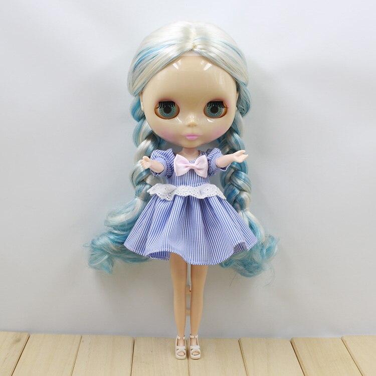 Обнаженная Блайт Куклы Синий и Белый Длинные Прямые Волосы 12 мода куклы для девочек