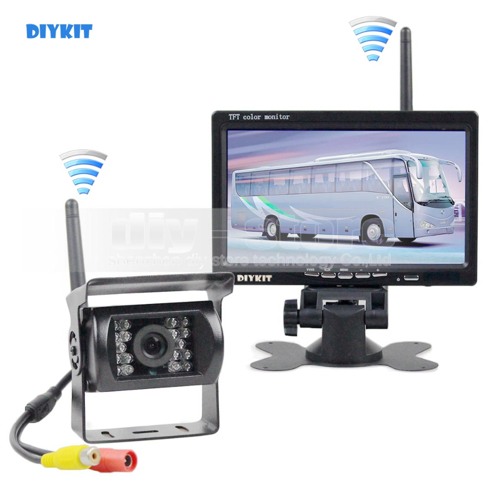 DIYKIT 7inch HD Rear View Car Monitor + IR CCD Car Backup Camera Wireless Parking Kit For Car Bus Truck Caravan Trailer RV diykit wired 12v 24v dc 9 car monitor rear view kit backup waterproof ccd camera system kit for bus horse trailer motorhome