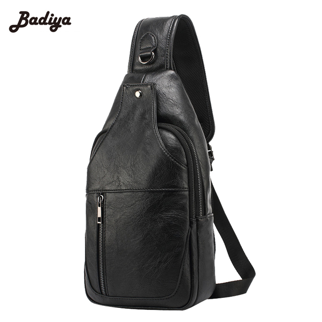 ca3b1dd5b969 Solid Vintage Black Zipper Bags Water Proof PU Leather Soft Mens Chest Bag  Europe Style Cross