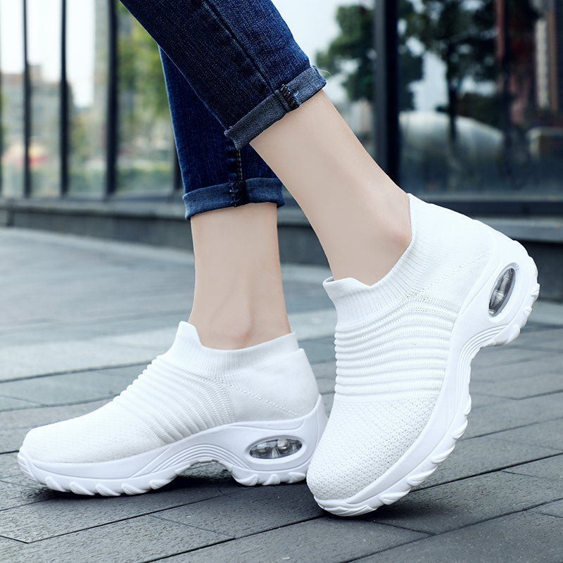 LSYSAG 2019 Spring&Autumn Women Sneakers Sock Shoes Flat Slip On Platform Running Shoes For Women Breathable Mesh Walking Shoes(China)