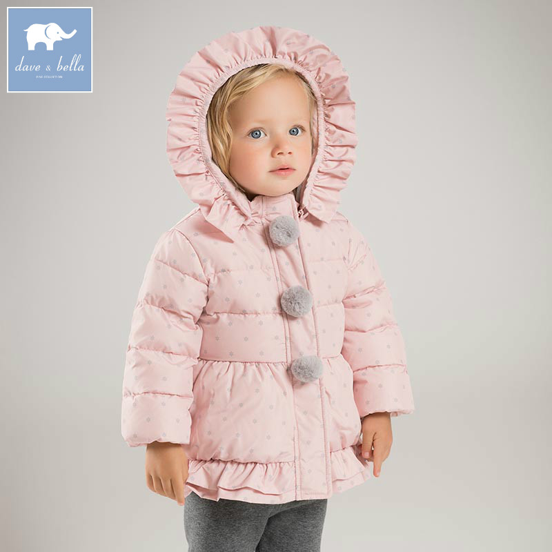 DBM6697 dave bella winter baby girls down jacket children 90% white duck down padding coat kids hooded outerwear baby stroller ultra light portable folding cart shock absorbers car umbrella bb baby child small baby car