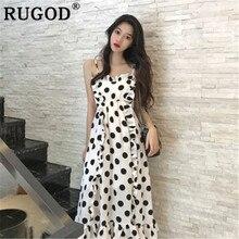 d72444cafe RUGOD tacheté femmes robe sangle col en v élégant vintage été robe boho chic  style décontracté coréen modis femme vestido verano