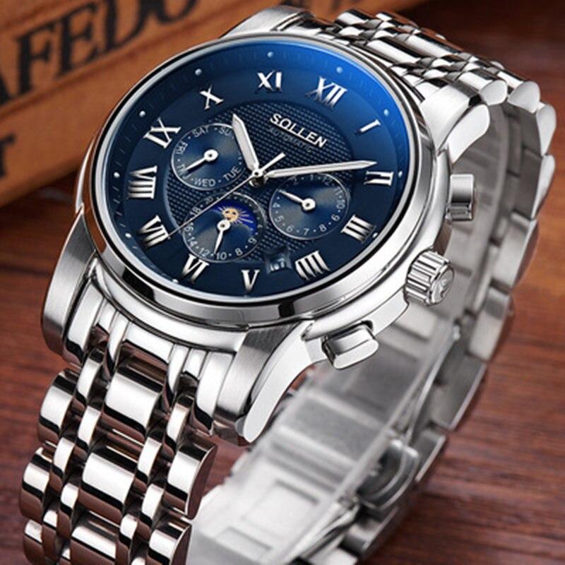Здесь продается  zegarki meskie Watch men multi-function automatic mechanical clock steel with waterproof hollow male wristwatches reloj hombre  Часы