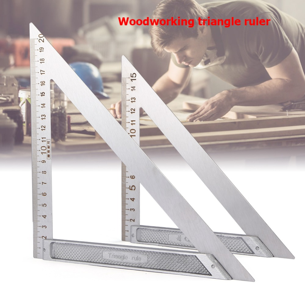 Triangle Ruler 90 Degrees Stainless steel Horizontal Woodworking Triangle Angle Speed Square Protractor Trammel Measuring Tool