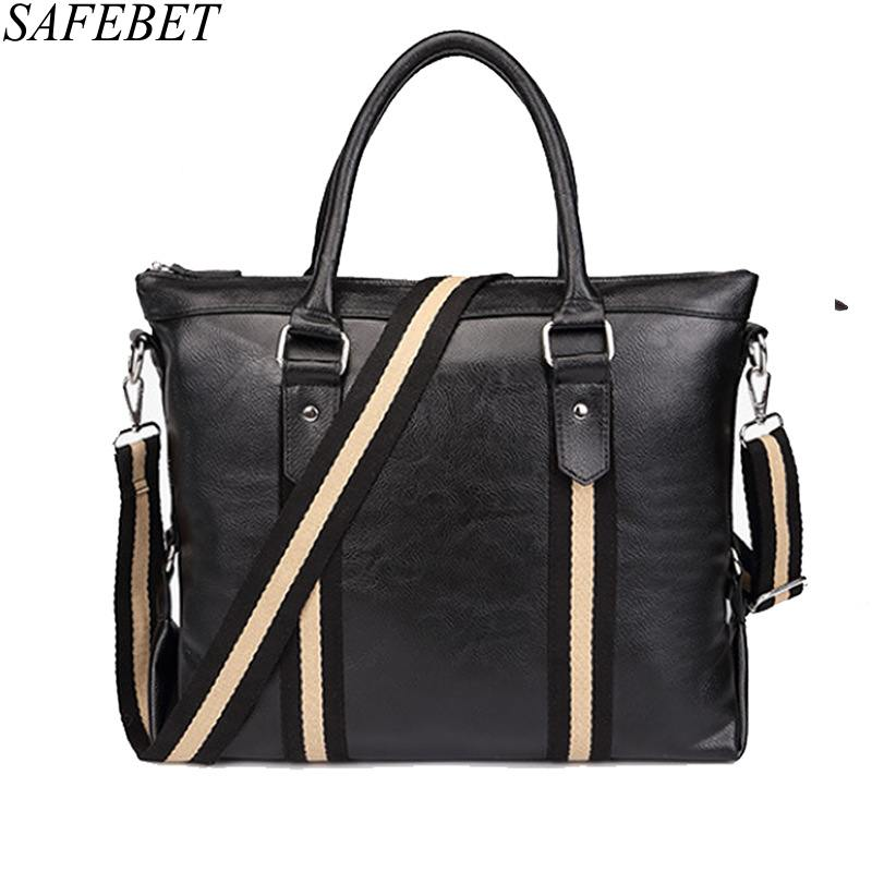 SAFEBET Brand Fashion Men Large-Capacity Handbag High Quality PU Leather Shoulder Bags Men Travel Bags Decorative Belt Male Bag