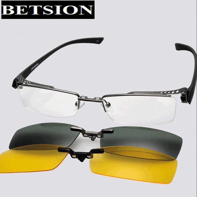 2 pcs Polarized Magic clip on Eyeglasses Frame Half Rim Glasses Night Day Driving Polarized Sunglasses