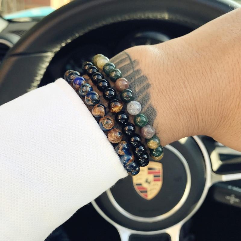 Mcllroy cuentas de piedra Natural pulsera hombres hematita pulseras con cuentas de piedra encanto pulseira masculina de joyas de San Valentín viernes negro