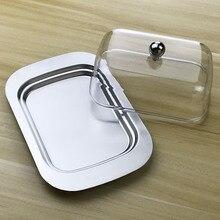 Контейнер для хранения масла и сыра, контейнер для хранения с прозрачной акриловой крышкой, лоток из нержавеющей стали, контейнер для сливок