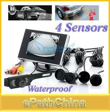 Brand New 2015 3.5 Inch LCD Waterproof Car Parking Rearview Monitor Kit with 4 Parking Sensors and Rear View Reverse Camera