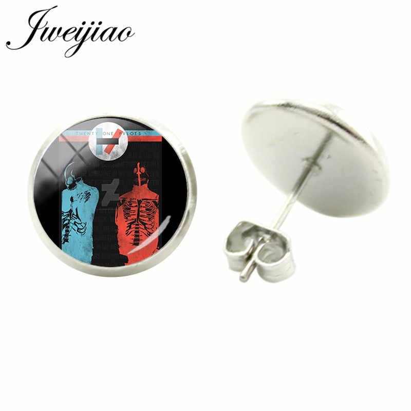 Jweijiao Trendi Twenty One Pilots Music Band Tanda Simbol Stud Anting-Anting Kaca Cabochon Dome Anting-Anting HIPHOP/Rock Perhiasan TO26