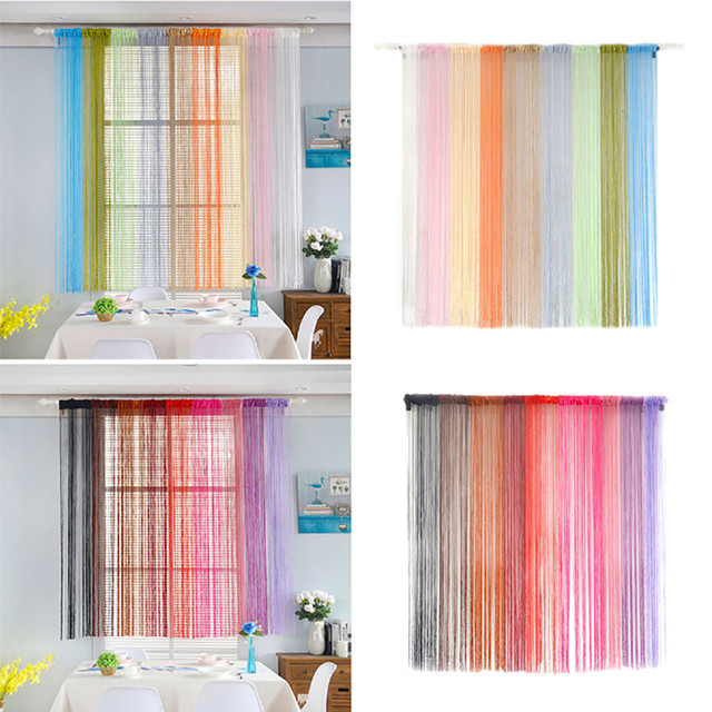 2m*1m 18 Colors String Curtains Window Living Room Bedroom Door Panel  Curtain Divider Yarn