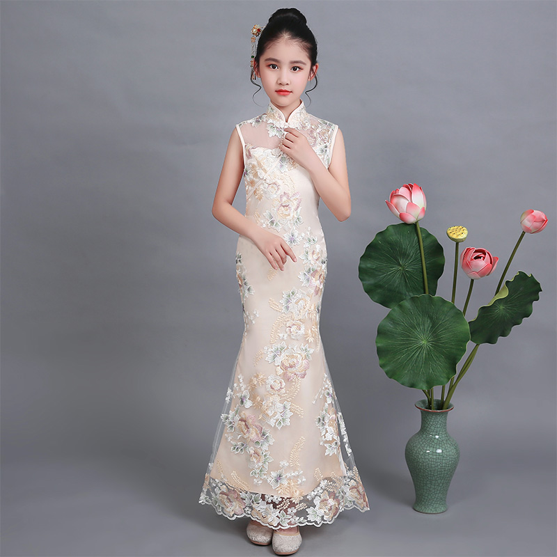 Children qipao long elegant slit dress mermaid fishtail girl cheongsam summer chinese style evening tang suit princess lace kid