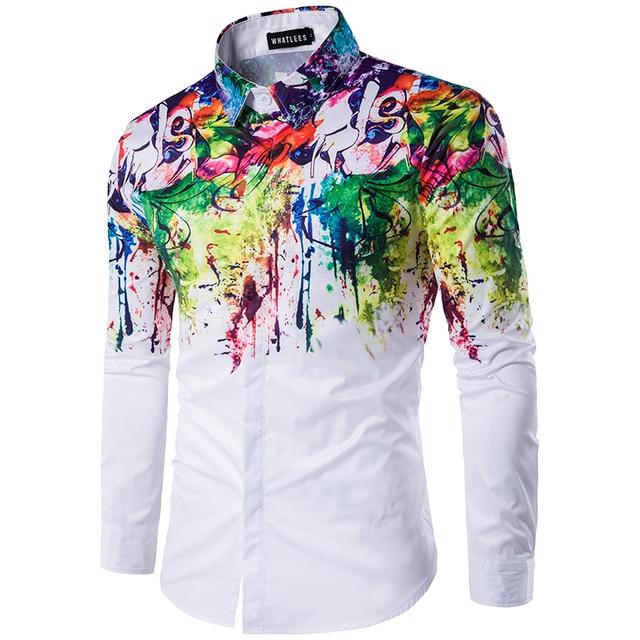 Plus size 2018 men's casual colour shirt ink splash paint color self-cultivation leisure 6 personality color long sleeve Shirt