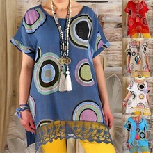цена на Large size Women's Blouse 2019 summer casual short-sleeved shirt big wave point  hem lace Ms shirt size plus 5xl