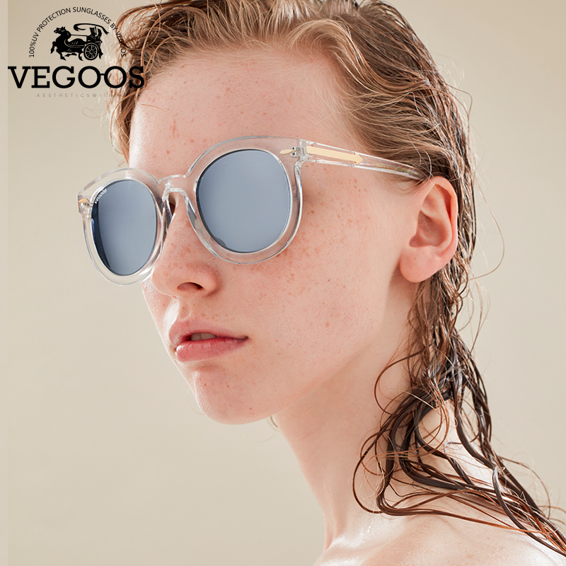 VEGOOS Real Polarized Vintage Women Sunglasses Flash Mirrored Lens Designer Brand Orignal Retro Round Sunglass Sun